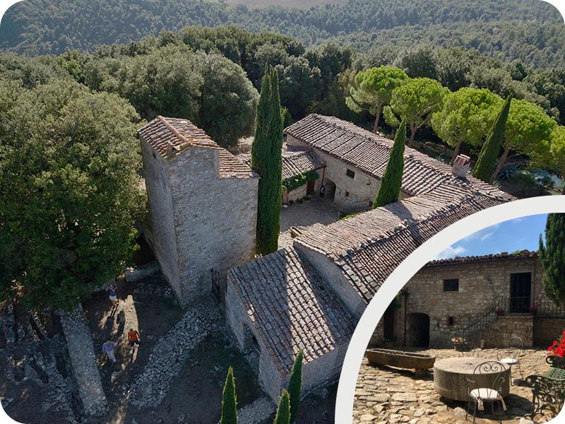 """Tuscany bike tour """"San Vettore Monastery (1075 A.C.)"""""""